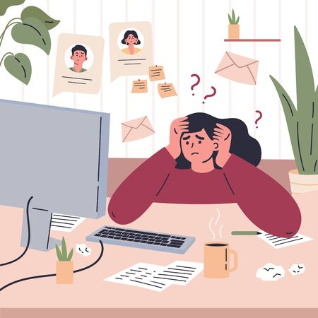 Girl working remotely during quarantine at home.Freelancer is stressed through a lot of work.Young woman sitting at the desk in her room and working.Vector colorful illustration.Flat cartoon character
