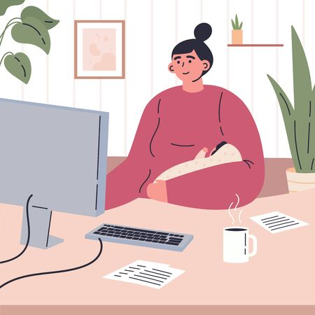 Young mother working remotely during quarantine at home.Working on computer in a child care decree.Happy mom spends time at home with baby.Vector colorful illustration.Flat cartoon character