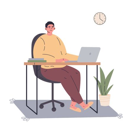 Man working remotely during quarantine at home.Freelancer working on computer.Young man sitting at the desk in his room.Vector colorful illustration.Flat cartoon character Ilustração