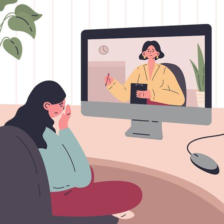 Young woman in a session with a psychologist online at home.Woman crying. Psychotherapy practice,psychiatrist consulting patient.Vector colorful illustration.Flat cartoon character Ilustração
