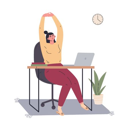 Woman working remotely during quarantine at home.Freelancer working on computer and doing exercises.Young woman sitting at the desk at home.Vector colorful illustration.Flat cartoon character
