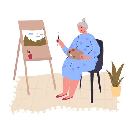 Aged creative woman in blue shirt is drawing a picture at easel with paintbrush.Professional artist.Work at home as freelancer or hobby.Hand drawn style vector flat illustrations.Colorful character