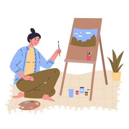 Young creative woman in blue shirt is drawing a picture at easel with paintbrush.Professional artist.Work at home as freelancer or hobby.Hand drawn style vector flat illustrations.Colorful character Stock Illustratie