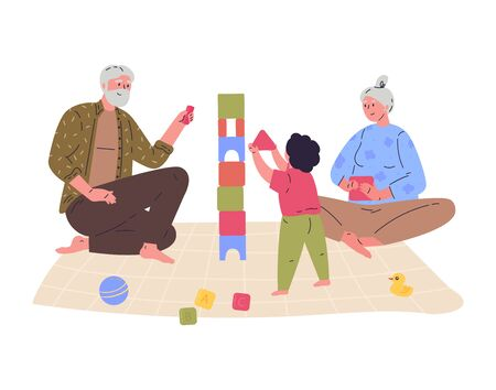 Grandparents play with their grandson building a tower.Block game for children.Relatives spend time together.Hand drawn style.Character design.Colorful vector illustration in flat cartoon style. Stock Illustratie