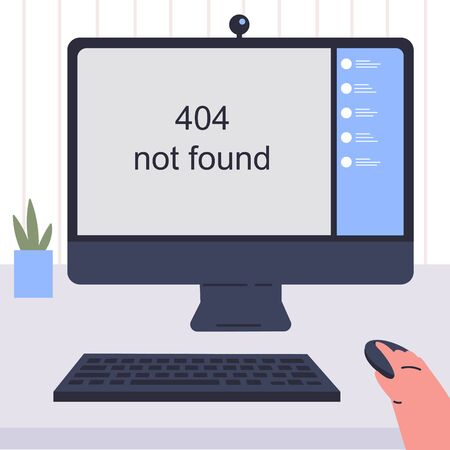 Template for an error page illustration.Page not found.Concept illustration for 404 error.Computer with error page.A person who cannot load a website or web page.Flat vector colorful illustration. Stock Illustratie