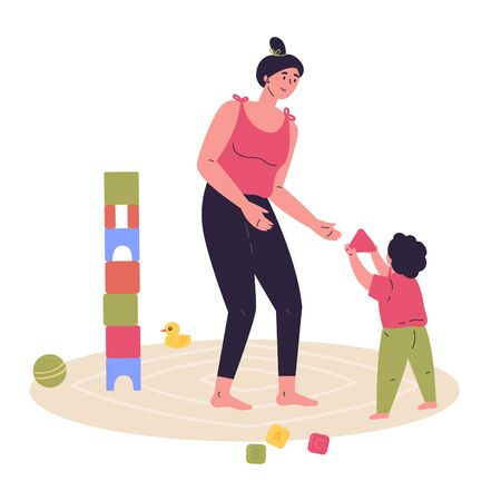 Young mother builds a tower of cubes with his child.Block game for children.Mother and baby spend time together.Hand drawn style.Character design.Colorful vector illustration in flat cartoon style.