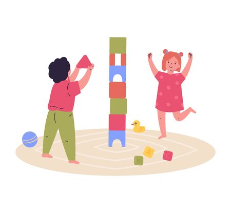 Children play together, build a tower of cubes.Block game for children.Brother and sister spend time together.Hand drawn style.Character design.Colorful vector illustration in flat cartoon style.