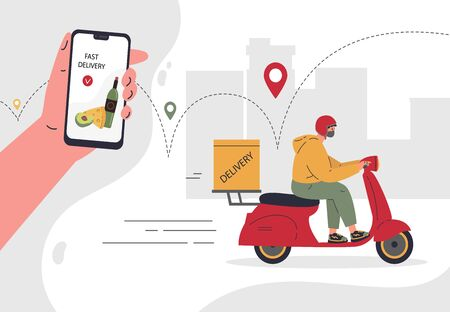 Online delivery service concept,fast delivery home and office.Scooter courier,man in respiratory mask.Webpage, app design.City landscape background.Vector flat illustration.Colorful character design Stock Illustratie