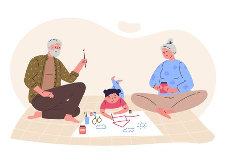 Grandparents draw picture with their granddaughter.Creative hobby for children.Relatives spend time together.Hand drawn style.Character design.Colorful vector illustration in flat cartoon style.