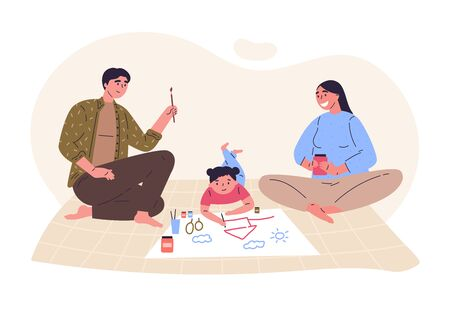 Parents draw picture with their daughter.Creative hobby for children.Relatives spend time together.Hand drawn style.Character design.Colorful vector illustration in flat cartoon style.