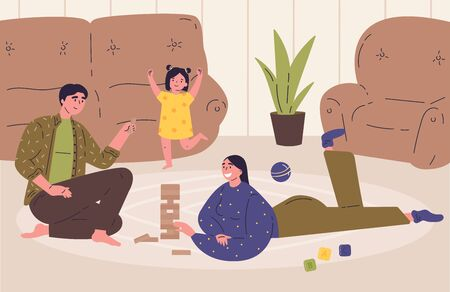 Mother, father and daughter plays a table game   at home.Tower balance game.Wooden stack risk block toy for two or more persons.Modern interior.Flat cartoon characters.Vector illustration