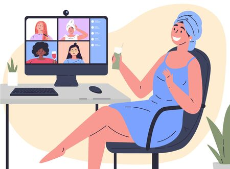 Video conference illustration.Woman chats with girlfriends online.Computer screen,group of people talking by internet.Web chatting,online meeting friends.Coronavirus, quarantine isolation.Vector Illustration