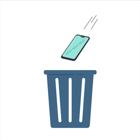 The smartphone is thrown in the trash.Gadget, news and digital devices detox concept.Stress from excessive amounts of information and news.Information silence.Bad news.Vector flat illustrations