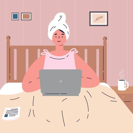 A young woman works remotely from home.The woman is lying on the bed and working on a laptop.Girl is resting in a comfortable bedroom after a shower.Flat cartoon character.Colorful vector illustration Stock Illustratie