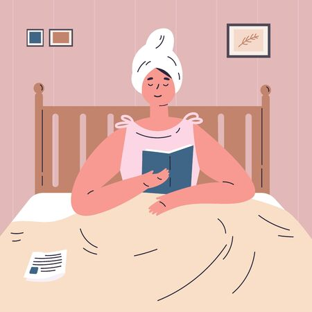 A young woman reading a book in bed.The woman is resting at home.Girl is reading in a comfortable bedroom after a shower.Flat cartoon character.Colorful vector illustration. Stock Illustratie