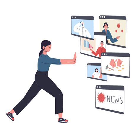 The young woman is tired of a lot of information and pushes away the news.Stress from excessive amounts of information and news.Information detox.Information silence.Bad news.Vector flat illustrations