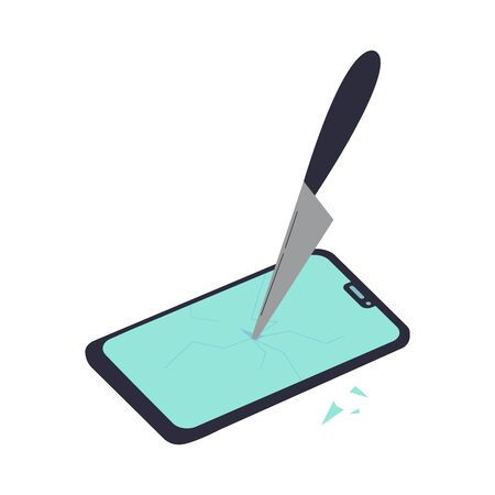 The smartphone is broken by a knife.Gadget, news and digital devices detox concept.Stress from excessive amounts of information and news.Information silence.Bad news.Vector flat illustrations