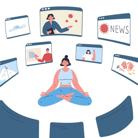 The young woman is tired of a lot of information around her.The girl sits in a lotus position.Stress from excessive amounts of information and news.Information detox.Information silence.Bad news.