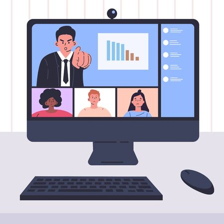 Stay and work from home.Video conference illustration.Workplace,computer screen.Employees talking by internet with an angry boss.Online meeting.Business on falling down chart.Quarantine isolation.