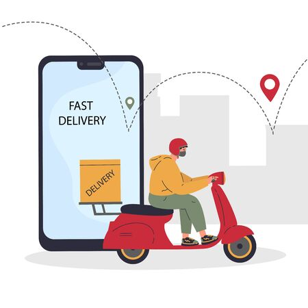 Online delivery service concept,delivery home and office.Scooter courier,man in respiratory mask.Webpage, app design.City landscape background.Vector flat illustration.Colorful character design Ilustrace