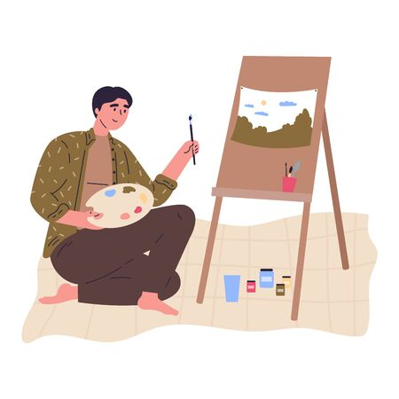 Young creative man in green shirt is drawing a picture at easel with paintbrush.Professional artist.Work at home as freelancer or hobby.Hand drawn style vector flat illustrations.Colorful character
