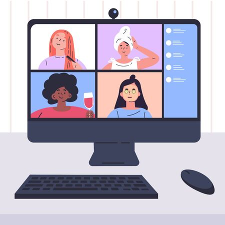 Video conference illustration.Girlfriends chats online.Computer screen,group of people talking by internet.Web chatting,online meeting friends.Coronavirus, quarantine isolation.Vector