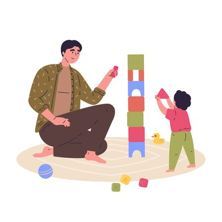 Young father builds a tower of cubes with his child.Block game for children.Father and baby spend time together.Hand drawn style.Character design.Colorful vector illustration in flat cartoon style.