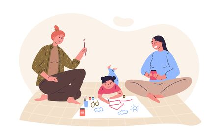 Lesbian parents draw picture with their daughter.Creative hobby for children.Relatives spend time together.Hand drawn style.Character design.Colorful vector illustration in flat cartoon style. Illustration