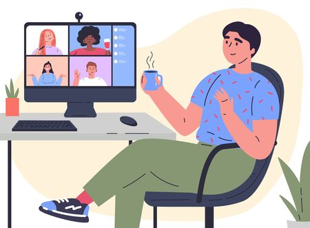 Video conference illustration.Man chats with friends online.Workplace,computer screen,group of people talking by internet.Web chatting,online meeting friends.Coronavirus, quarantine isolation.Vector Stock Illustratie