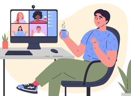 Videokonferenzillustration. Mann chattet mit Freunden online. Arbeitsplatz, Computerbildschirm, Gruppe von Personen, die über das Internet sprechen. Web-Chat, Online-Treffen mit Freunden. Coronavirus, Quarantäne-Isolation. Vektor