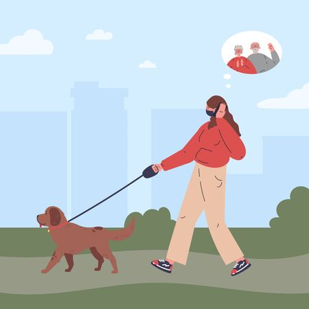 Woman in medical mask walking a dog and talking on the phone in the park.Girl is talking on the phone with her old parents.Healthy active lifestyle.Flat cartoon character.Colorful vector illustration.