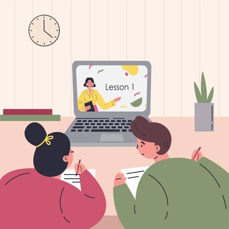 Online education.Kids learn lessons on laptop.Online courses and video lessons.Education during coronavirus quarantine.Student studying at home.Vector colorful illustration.Flat cartoon character Ilustrace