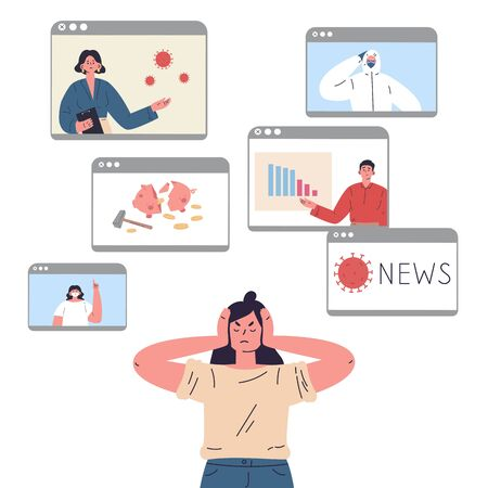 The young woman is tired of a lot of information and covers her ears so as not to hear the news.Stress from excessive amounts of information and news.Information detox.Information silence.Bad news.