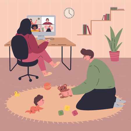 Young happy family spending time together during quarantine at home.Mother working remotely.Father plays with the baby.People in modern interior.Vector colorful illustration.Flat cartoon characters
