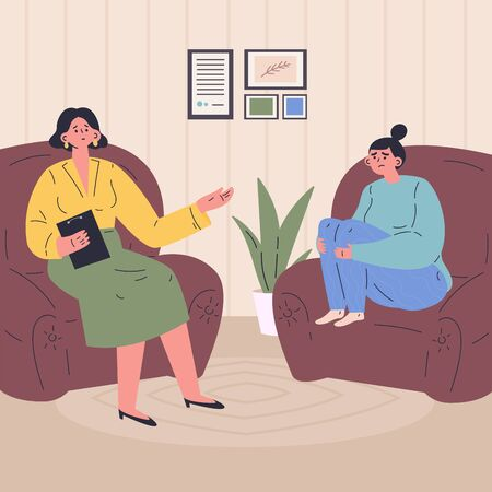Young woman at a session with a psychologist.The woman is worried.Psychiatrist consulting depressed patient.Psychology.Modern psychologists office.Flat vector illustration.