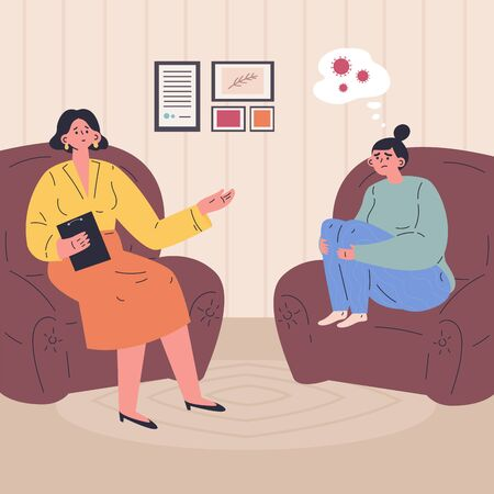 Young woman at a session with a psychologist.The woman is worried about the coronavirus.Psychiatrist consulting patient with fear.Psychology.Modern psychologists office.Flat vector illustration. Çizim