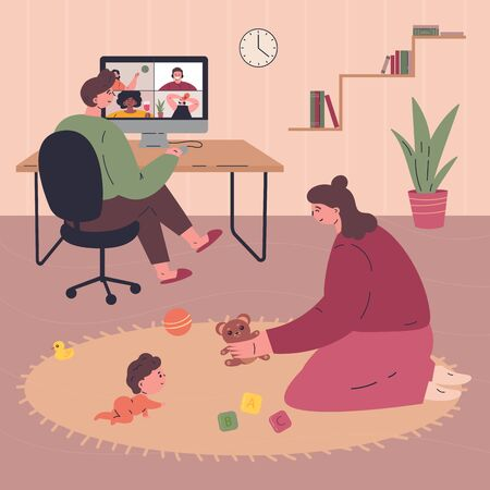 Young happy family spending time together during quarantine at home.Father working remotely.Mother plays with the baby.People in modern interior.Vector colorful illustration.Flat cartoon characters Stock Illustratie