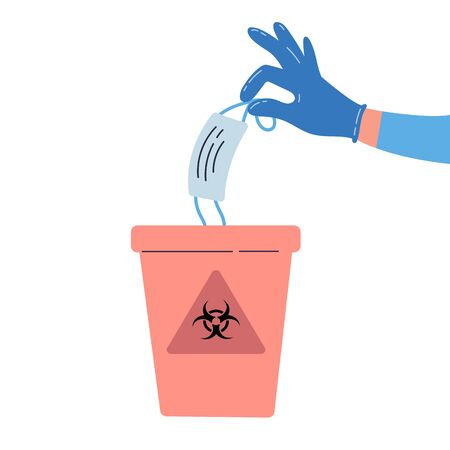 Medical waste vector illustration.Hand holding and throwing away used medical mask into a trash bin with biohazard sign on it.Hospitals recycle container.Colorful vector flat illustration Illustration