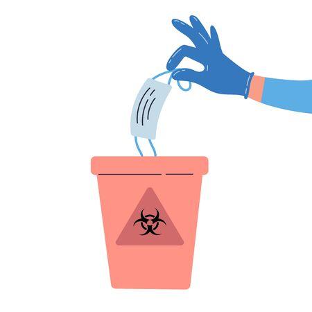 Vektorillustration für medizinische Abfälle. Hand, die gebrauchte medizinische Maske in einen Mülleimer mit Biohazard-Schild hält und wegwirft. Krankenhäuser recyceln Container. Bunte Vektor-Flachdarstellung