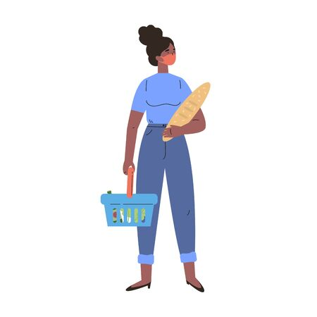 Coronavirus pandemic.African American woman shopping during quarantine in a protective mask.Young woman with groceries and basket.Colorful character.Vector illustration in flat style.