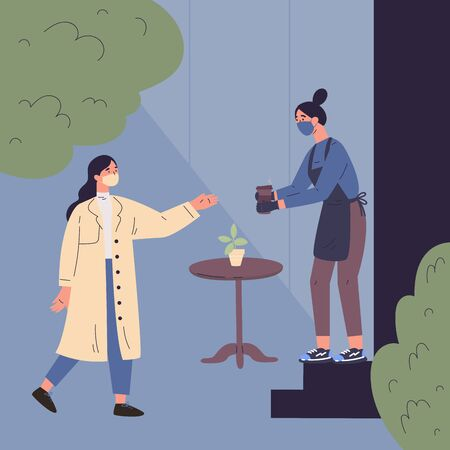 The woman in trench coat ordered coffee to go.Quarantine restrictions.End of quarantine.Cafe during quarantine.The seller in a medical mask,gloves and apron gives out coffee to the buyer.Flat,vector