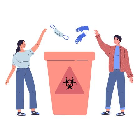Medical waste vector illustration.Biological hazard flat tiny persons concept.Caution sign on bin to warn about dangerous substances, used masks,gloves and health risk.Hospitals recycle container