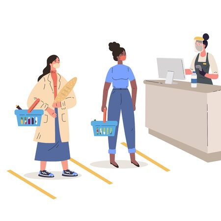 Coronavirus pandemic.Women shopping in a protective masks in a supermarket.Young women with baskets keep their distance from each other.Colorful characters.Vector illustration in flat style. Stock Illustratie