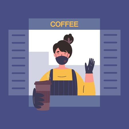 Female barista sells coffee to go from cafe window.Quarantine restrictions.End of quarantine.Cafe during quarantine.The seller in a medical mask,gloves and apron gives out coffee to the buyer.Vector