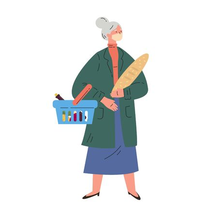 Coronavirus pandemic.Old woman shopping during quarantine in a protective mask.Mature woman in a trench coat with groceries and basket.Colorful character.Vector illustration in flat style. Stock Illustratie