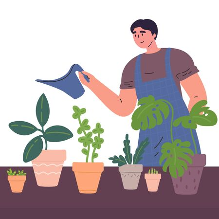Young man watering houseplants from a watering can in a cosy home atmosphere.Man caring for indoor plants.Hobby.Colorful character.Vector illustration in flat style. Stock Illustratie