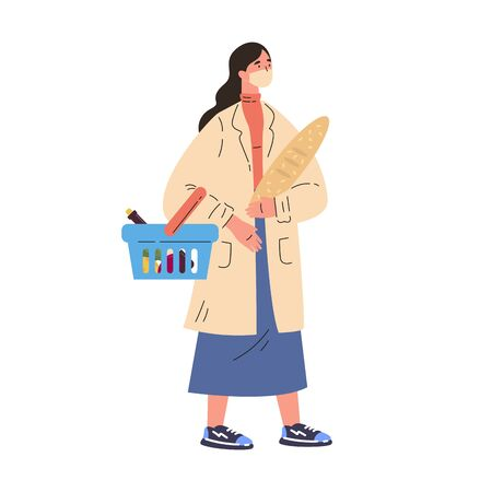Coronavirus pandemic.Young woman shopping during quarantine in a protective mask.Woman in a trench coat with groceries and basket.Colorful character.Vector illustration in flat style.