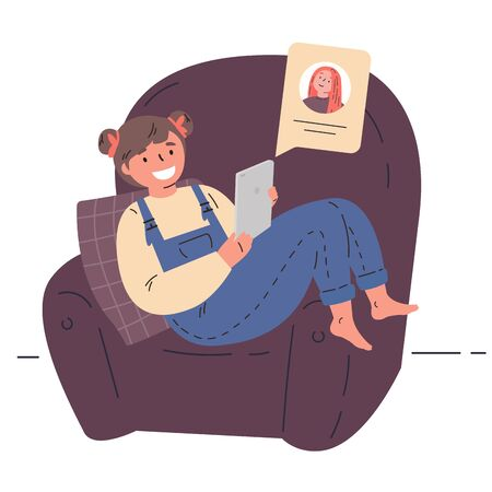 Video Conference.Cute little kid using tablet for video call with friend.Children happy using internet technology.Girl spends her free time at home.Cartoon character design.Vector flat illustration.