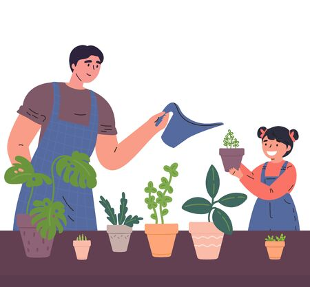 Father and daughter water the houseplants from a watering can together.Man and child caring for indoor plants.Hobby.Time for family.Colorful characters.Vector illustration in flat style. Stock Illustratie