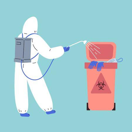Coronavirus pandemic.Novel coronavirus 2019-nCoV.Human in white medical protective suit disinfects medical waste.Coronavirus quarantine vector illustration.Flat cartoon character